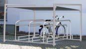 Bikeport Frame mit höhenversetztem Anlehnbügel mit Führungsrinnne zur geführten Einstellung