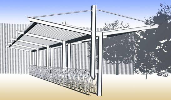 Freichflächen Überdachung Balance, beidseitig mit Trapezblech mit Anfangs- und Anbauelementen
