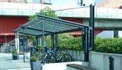 Balance einseitig als kombinierte Fahrrad- und Raucherüberdachung, Ausführung VSG