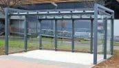 Wartepunkt Frame mit Rück- und Seitenwänden, Dacheindeckung Verbundscheibensicherheitsglas