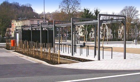 Einseitige Überdachung Frame mit erhöhter Durchgangshöhe